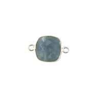 Connector Blue Opal 12mm Cushion Bezel Sterling Silver - each