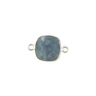 Connector Blue Opal 12mm Cushion Bezel Sterling Silver - each