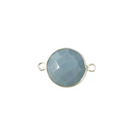 Connector Blue Opal 14mm Round Bezel Sterling Silver - each