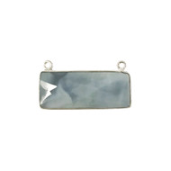 Pendant Two Loop Blue Opal 12x30mm Rectangle Bezel Sterling Silver - each