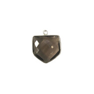 Pendant Smokey Quartz 18x18mm Pentagon Bezel Sterling Silver - each