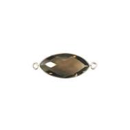 Connector Smokey Quartz 11x22mm Marquise Bezel Sterling Silver - each