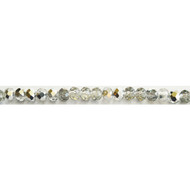 Chinese Crystal 4.5X6mm Rondelle Bead Silver Half Coat AB- by the strand