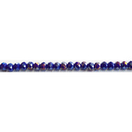 Chinese Crystal 4.5X6mm Rondelle Bead Dark Blue AB- by the strand