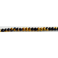 Chinese Crystal 4.5X6mm Rondelle Bead Jet/ Gold Metallic - by the strand