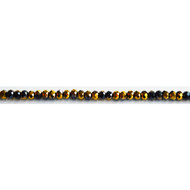 Chinese Crystal 4x3mm Rondelle Bead Jet/Gold Metallic - by the strand