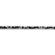 Chinese Crystal 4x3mm Rondelle Bead Jet/Silver Metallic - by the strand