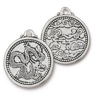 TierraCast Antique Silver Dragon Coin Charm each
