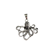 Octopus Pendant 40mmx45mm Silver Plated Brass - each