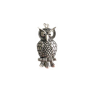 Owl Pendant 40x20mm Silver Plated - each