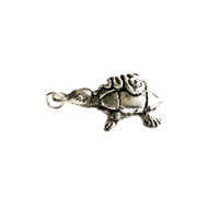 Turtle Pendant 40x 20mm Silver Plated Brass - each
