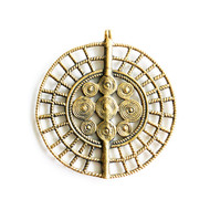 Baule Sun Disc Bead Reproduction 78mm with Bail Brass - each