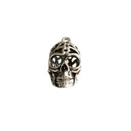Pendant Filigree Skull 32mm Brass Silver Plated - each