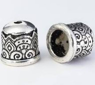 TierraCast Temple Cord End 6mm, Antiqued Silver Plate 94-5849-12 - each