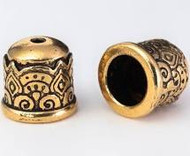 TierraCast Temple Cord End 6mm, Antiqued Gold Plate 94-5849-26 - each
