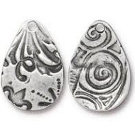 TierraCast Flora Small Teardrop Charm, Antiqued Pewter 94-2495-40 - each