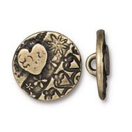 TierraCast Amor Round Button, Oxidized Brass Plate, 94-6581-27 - each