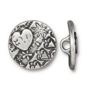 TierraCast Amor Round Button, Antiqued Pewter, 94-6581-40 - each