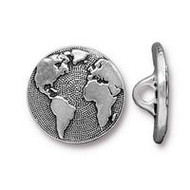 TierraCast Earth Button, Antiqued Silver Plate, 94-6578-12 - each