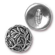 TierraCast Bamboo Button, Antiqued Silver Plate, 94-6569-12 - each