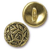 TierraCast Bamboo Button, Antiqued Gold Plate - Each (68508)