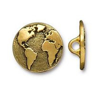 TierraCast Earth Button, Antiqued Gold Plate, 94-6578-26 - each