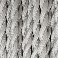 Silver - Twisted Cloth Covered Wire (250 Ft / Roll)