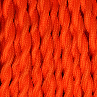 Orange Red - Twisted Cloth Covered Wire (250 Ft / Roll)