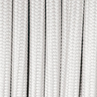 True White - Round Cloth Covered Wire (100 Ft / Roll)