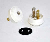 Ribbed Button Replica Lamp Plug - White