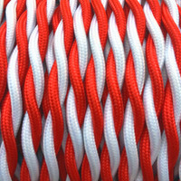 Red and White - Dual Color Twisted Cloth Covered Wire (250 Ft / Roll)