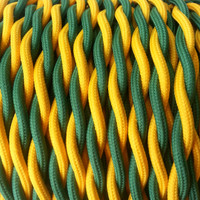 Green and Gold - Dual Color Twisted Cloth Covered Wire (250 Ft / Roll)