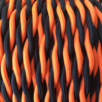 Black and Orange - Dual Color Twisted Cloth Covered Wire (250 Ft / Roll)