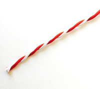 Red and White - Dual Color Twisted Cloth Covered Wire (Per Foot)