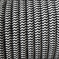 Zig-Zag Black and White - Round Cloth Covered Wire (100 Ft / Roll)
