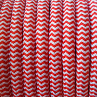 Zig-Zag Red and White - Round Cloth Covered Wire (100 Ft / Roll)