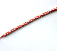 Zig-Zag Red and White - Round Cloth Covered Wire (Per Foot)