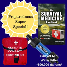 Preparedness Super Special Sale-3 items including Mini Sawyer Water Filter, Ultimate Compact First Aid Kit and The Survival Medicine Handbook.