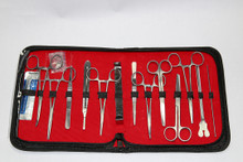 Minor Surgery Set with stainless steel instruments. Includes a retractor.