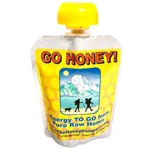 GO HONEY! Raw unprocessed honey in a resealable pack with a cap. 3.5 ounces each per pack.