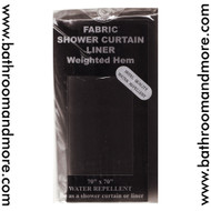 """Carnation Home Fashions Blck Fabric Shower Curtain Liner 70"""" Wide X 72"""" Long"""