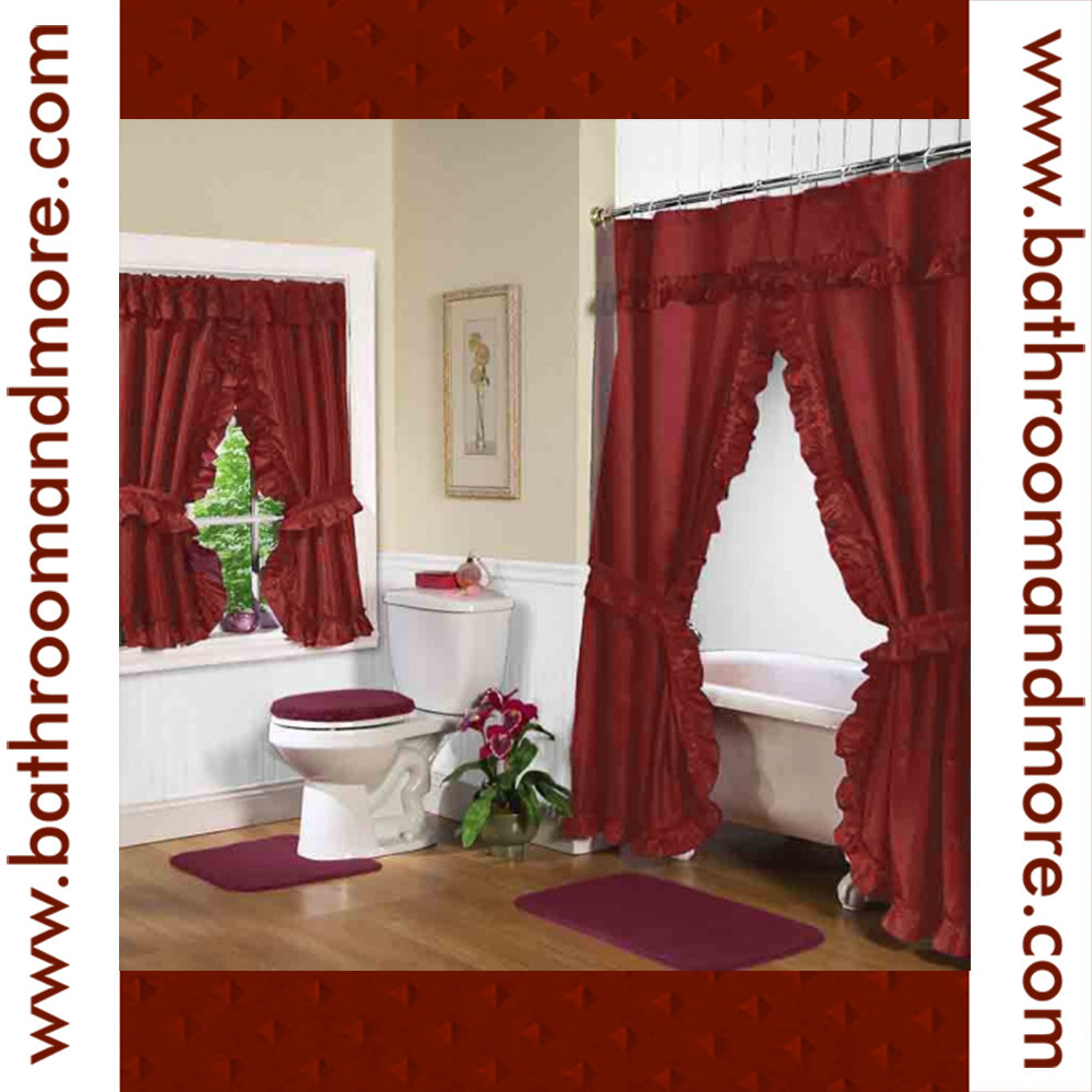 Rust Red Fabric Double Swag Shower Curtain With Matching Window