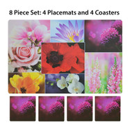Flowers Photo 8 Pc. Plastic Placemat (4) and Coaster (4) Set. Great for Indoor or Outdoor Use