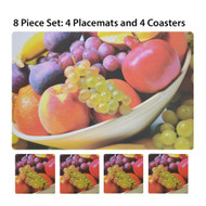 Fruit Bowl Photo 8 Pc. Plastic Placemat (4) and Coaster (4) Set. Great for Indoor or Outdoor Use