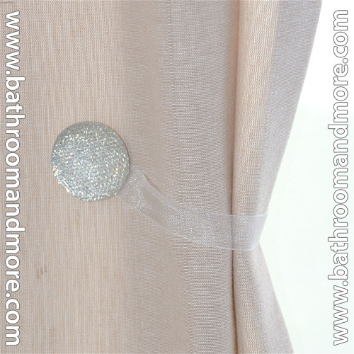 White Round 2 Pc Crystal Magnetic Window Curtain Drapery