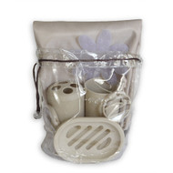 Taupe bath in a bag accessory set