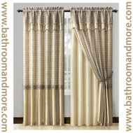 "Gold Window Curtain Drapery Set Double Layer Panel w/ Double Layer Valance 55""x90"""