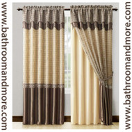 "Chocolate Brown Window Curtain Drapery Set Double Layer Panel w/ Double Layer Valance 55""x90"""