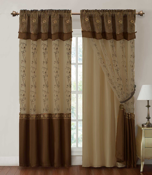 One Piece Window Curtain Drapery Sheer Panel W Attached Backing And