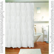 """White Voile Ruffled Gypsy Fabric Shower Curtain 70""""x72"""""""